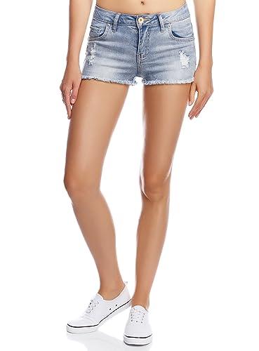 oodji Ultra Damen Jeansshorts mit Used-Effekten