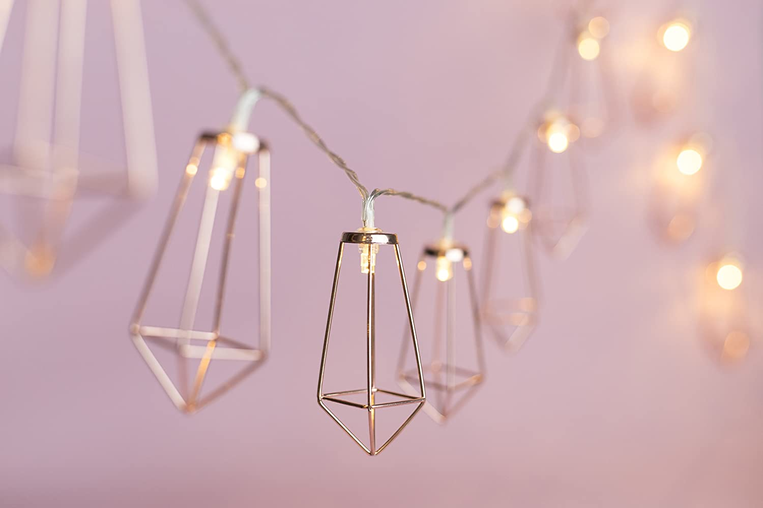 10 FT USB Rose Gold Geometric Boho LED String Lights, Great for Home Patio Bedroom Garden Wedding Party Indoor Decoration (Warm White) OHSEE