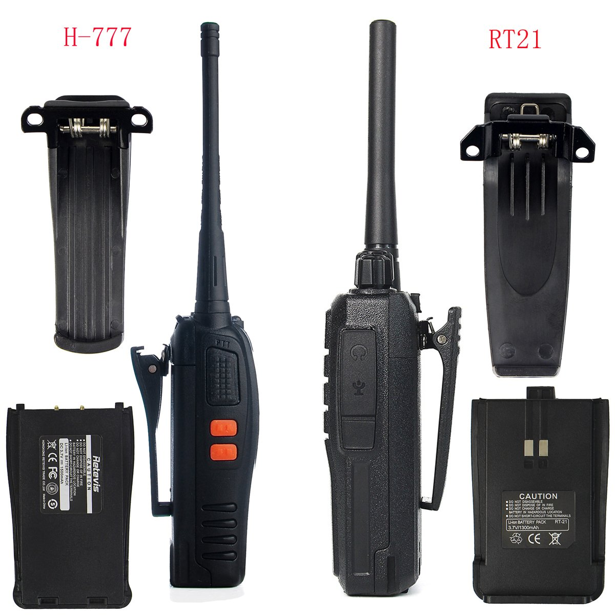 Retevis RT21 Walkie Talkies 16CH FRS Two Way Radio VOX Scrambler 2 Way Radios(5 Pack) with 2 Pin Covert Air Acoustic Earpiece (5 Pack) by Retevis (Image #3)
