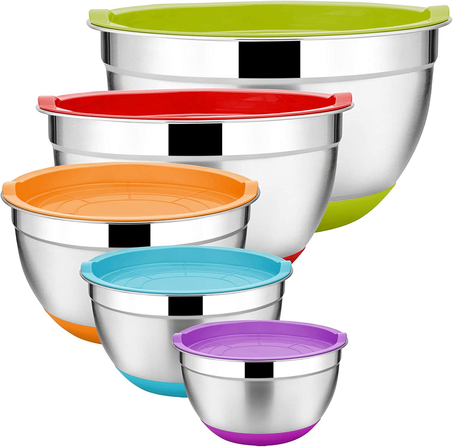 Stainless Steel Mixing Bowls Set of 5, Size 8/5/3/2.5/1.5 QT, E-far Metal Nesting Bowls with Colorful Airtight Lids, Measurement Marks & Non-Slip Bottoms, Great for Cooking, Baking, Serving, Food Prep