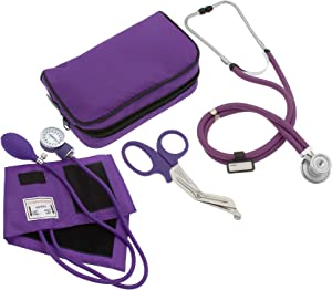 "ASATechmed Nurse/EMT Starter Pack Stethoscope, Blood Pressure Monitor and Free Trauma 7.5"" EMT Shear Ideal Gift for Nurse, EMT, Medical Students, Firefighter, Police and Personal Use"
