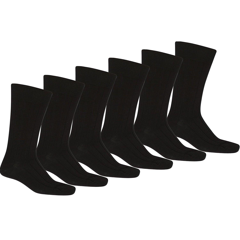 Mechaly Men 12-Pack Solid Plain Dress Socks in Black