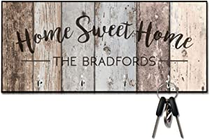 Personalized Rustic Wood Plank Look Home Sweet Home Key Hanger