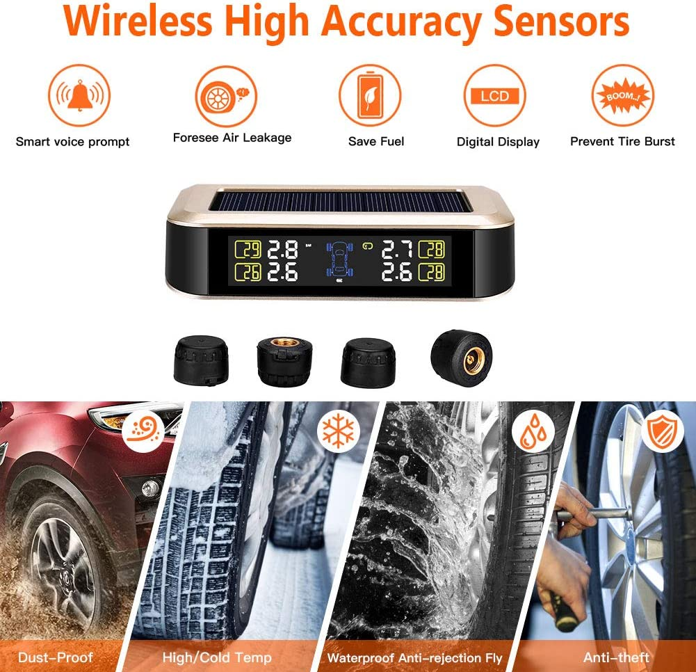 0-8.0 BAR Elikliv Wireless Tire Pressure Monitoring System with 4pcs External Sensors -40℃~85℃ TPMS Solar Power with HD LCD Screen- Real-time Displays 4 Tires Pressure Temperature
