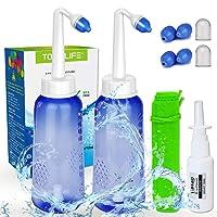 2PCS-Pack Nose Wash Kit - 2 Bottle + 4 Nozzle - 300ml 10oz Nose Washer - Sinus Rinse...