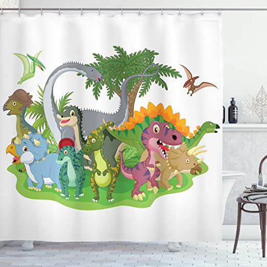 Waterproof Fabric Jurassic Dinosaur Era Bathroom Mat Shower Curtain Liner Hooks