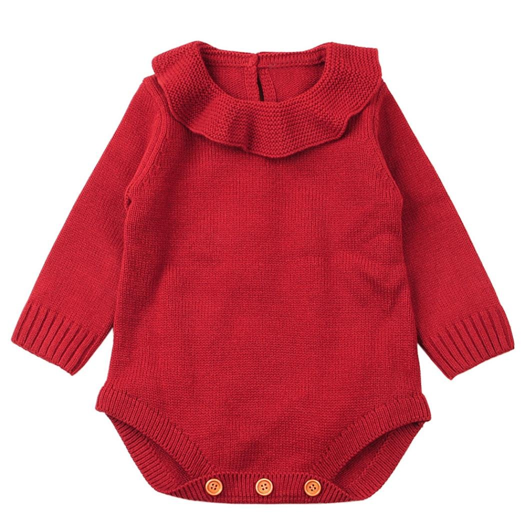 SHOBDW Girls Rompers, Baby Boy Lovely Peter Pan Collar Weave Romper Knitted Winter Jumpsuit Outfits Newborn Infant Clothes SHOBDW-88