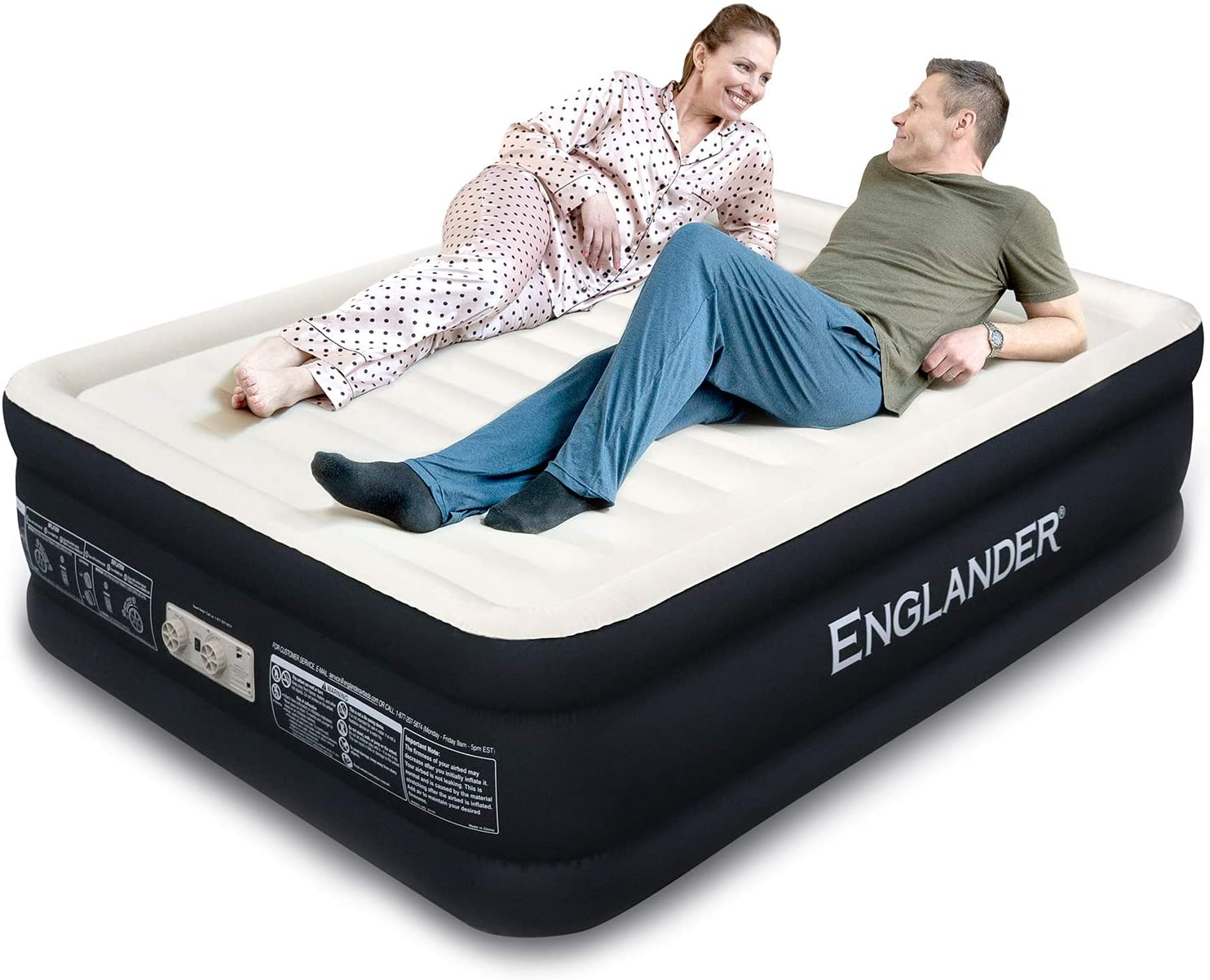 Englander First Ever Microfiber Queen Air Mattress, Luxury Microfiber airbed with Built-in Pump, Highest End Blow Up Bed, Inflatable Air Mattresses for Guests Home Travel 5-Year Warranty (Black)