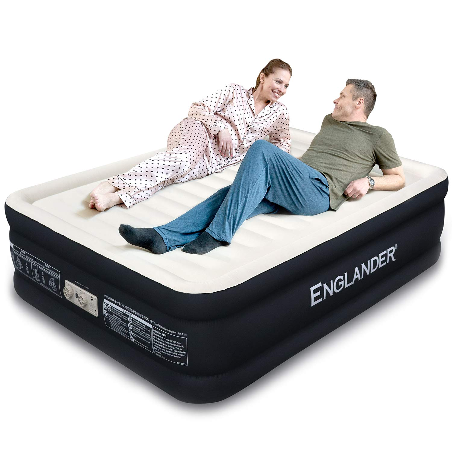 Englander First Ever Microfiber Queen Air Mattress, Luxury Microfiber airbed with Built-in Pump, Highest End Blow Up Bed, Inflatable Air Mattresses for Guests Home Travel 5-Year Warranty (Black) by Englander