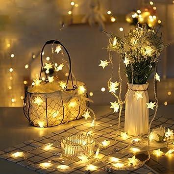 KEEDA cadena de luces al aire libre, 40LED 6 m, funciona con pilas, estrella guirnalda de luces decorativa para iluminación de Navidad, luces, lámparas de jardín: Amazon.es: Electrónica