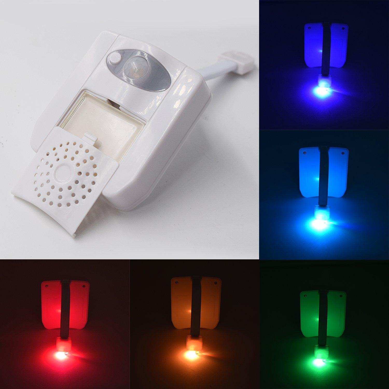 Iluminación del Baño con Sensor de Movimiente,GZQES,Luz de Wc con 16 Colores, Lámpara Automática de Inodoro,Luz LED Multicolor Nocturno en el Inodoro UV y Aromaterapia [Clase de eficiencia energética A++]