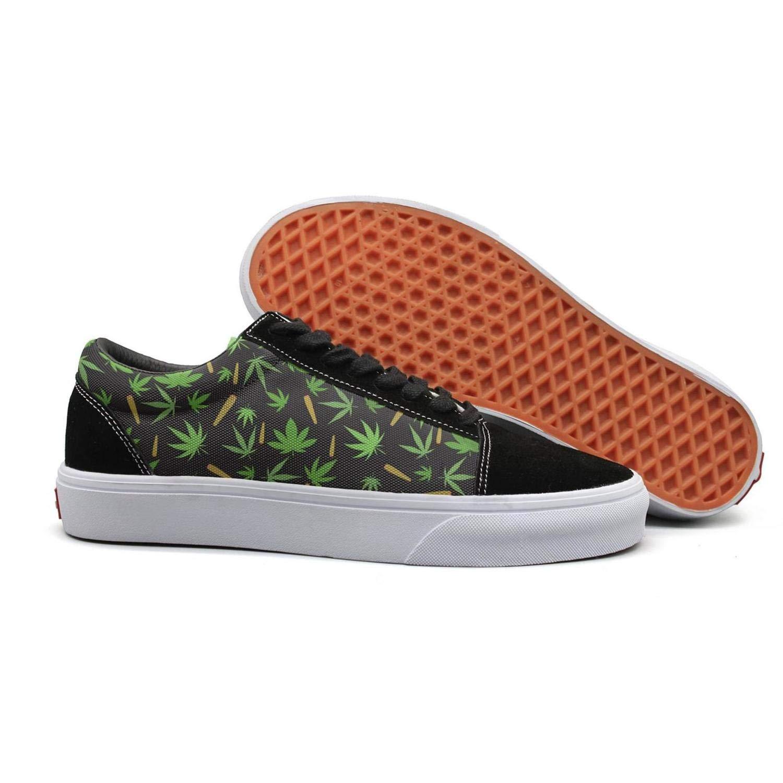 Smoking Marijuana Black Background Woman Flat Sneakers for Womens Lightweight Budge Leather Shoe