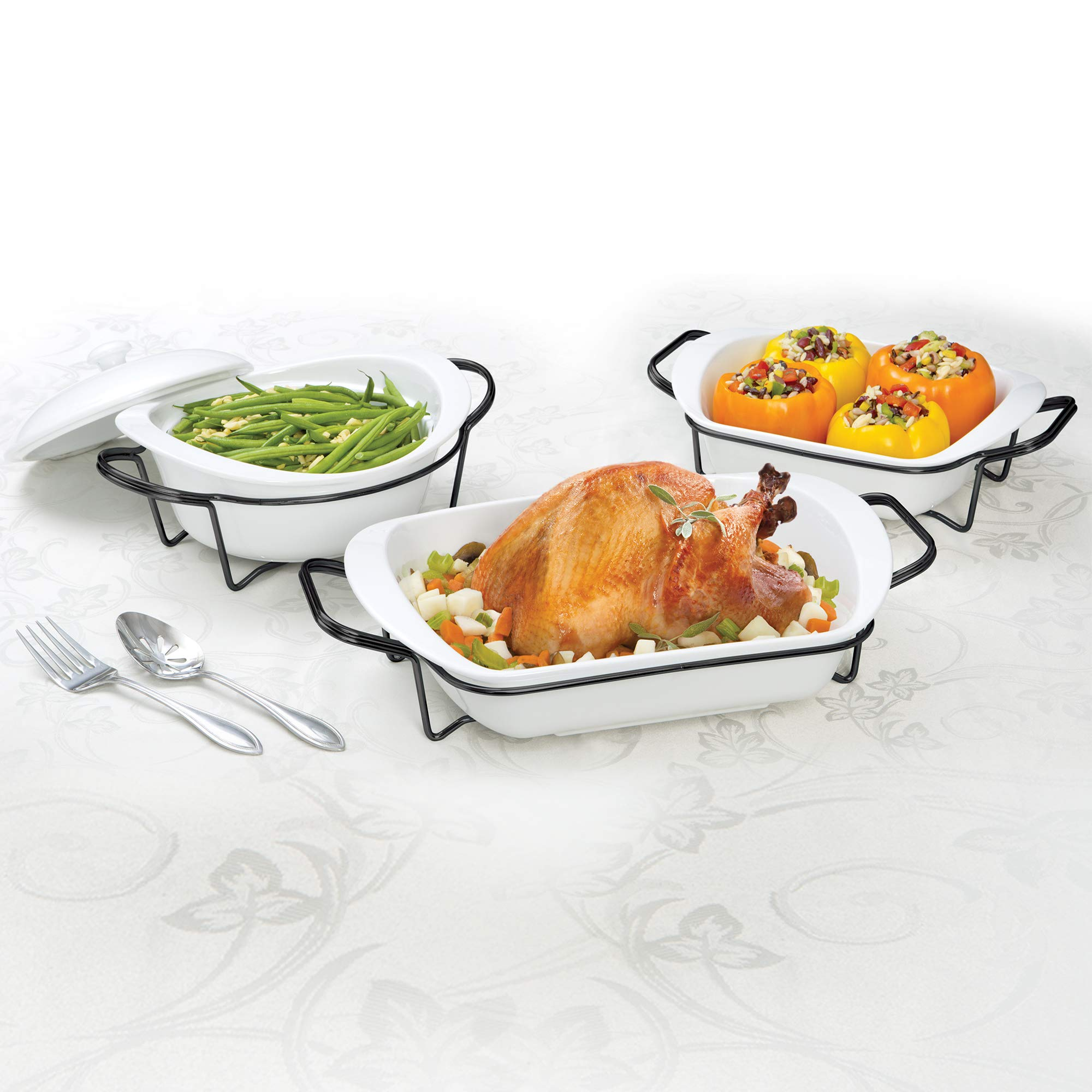 Certified International 89665 7 Piece Porcelain Set Cookware, Bakeware, Cooking Accessories, White