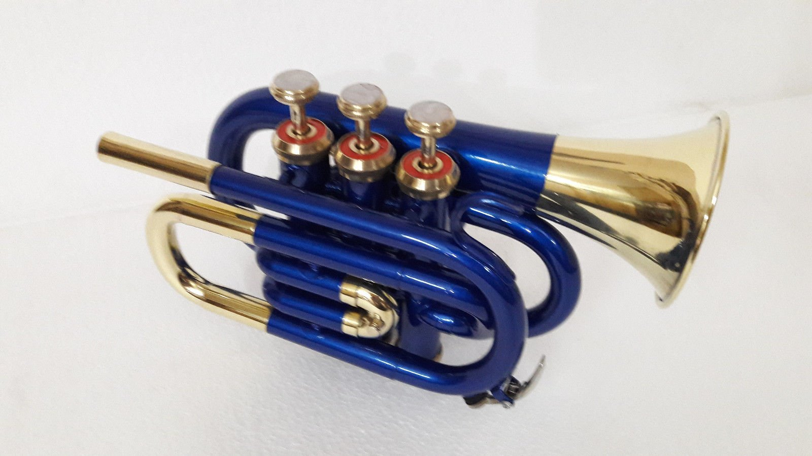 SUMMER VACATION SALE NEW BLUE BRASS FINISH Bb FLAT POCKET TRUMPET+FREE CASE+M/P by SAI MUSICAL (Image #1)