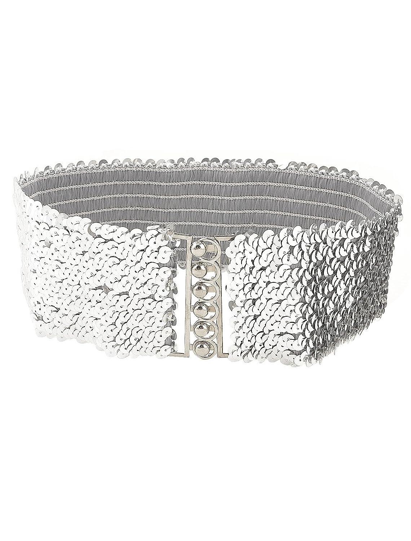 Paillette Link Decor Stretch Waistband Cinch Belt Waistbelt for Lady