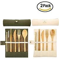 2 Juegos de cubiertos de bambú, cubiertos de madera, cubiertos para acampar con bolsa