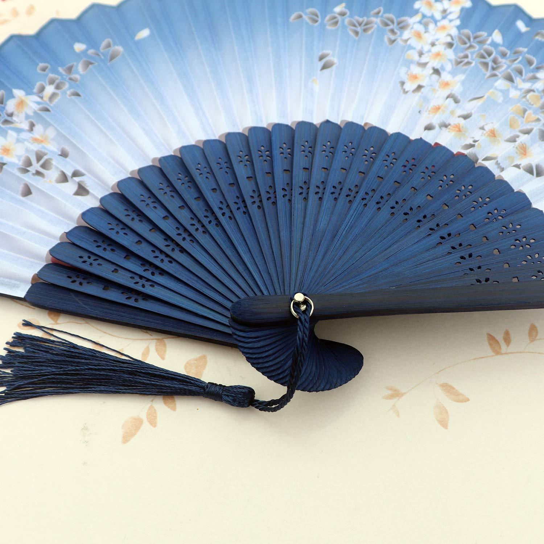XGAKWD 8 1//4 Handheld Folding Fans with Fabric Sleeve Chinease//Japanese Folding Silk Cloth Hand Held Fan for Women Dance Decorative Dark Blue