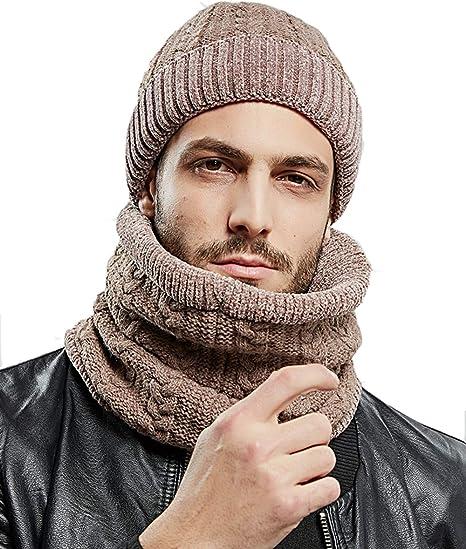 2 Pezzi Cappello da Sci allAperto Cappello Uomo Invernali Beanie in Maglia con Sciarpa