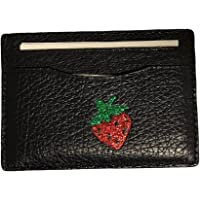 Coach Strawberry Leather Credit Card Case Holder Black 27039