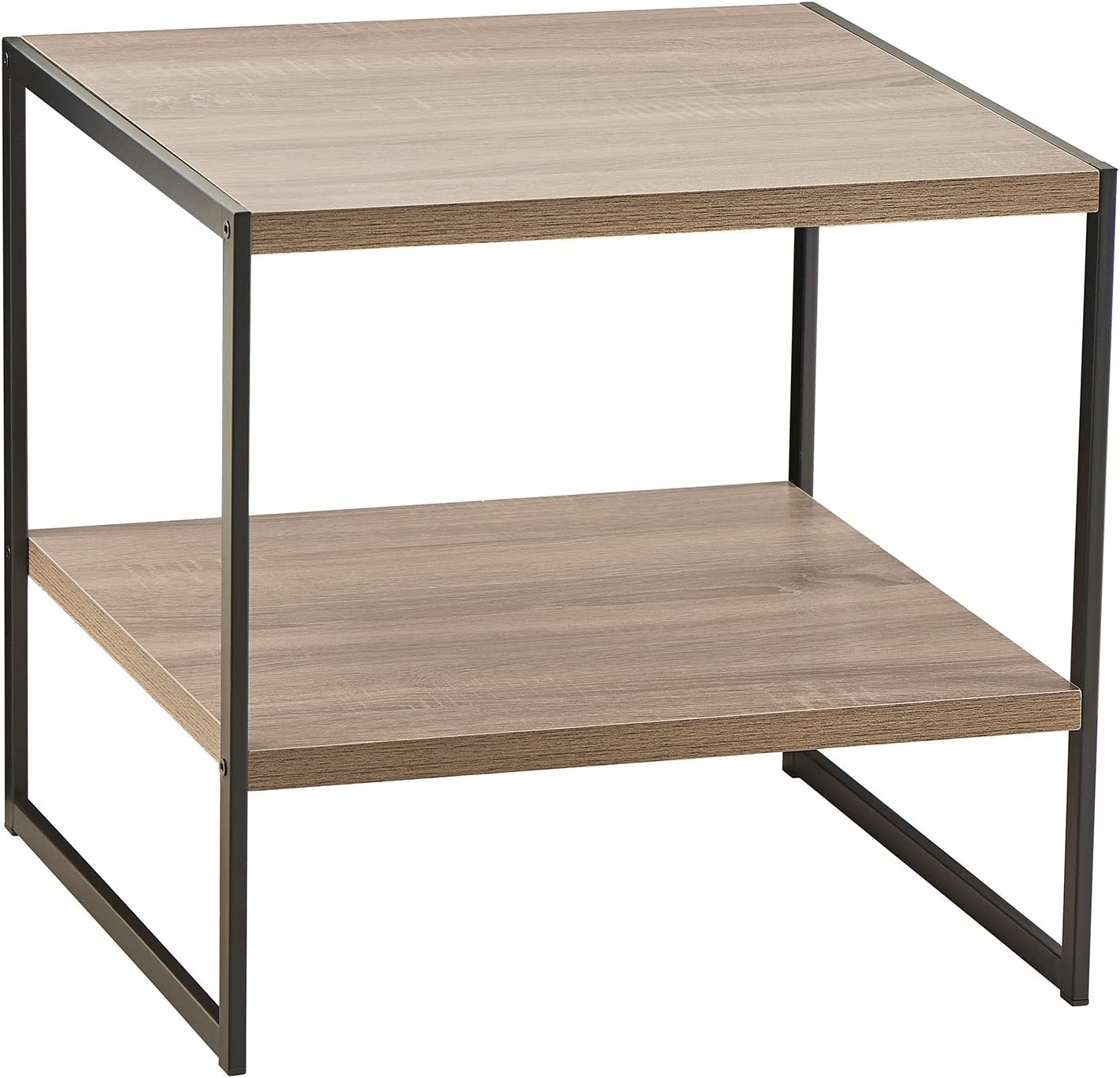 ClosetMaid 1314 2-Tier Square Wood Side Table with Storage Shelf, Gray: Kitchen & Dining