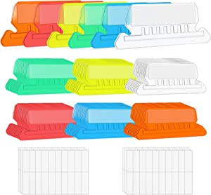 File Folder Tabs, 60+120 Sets Multicolor Hanging File Folder Tabs with Inserts for Hanging Folders, 2 Inch Clear Plastic Hanging File Tabs for Quick Identification