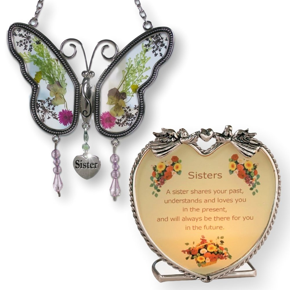 Sister Gift Set - Butterfly Suncatcher with Pressed Flower Wings & Candleholder - Gifts for Sisters