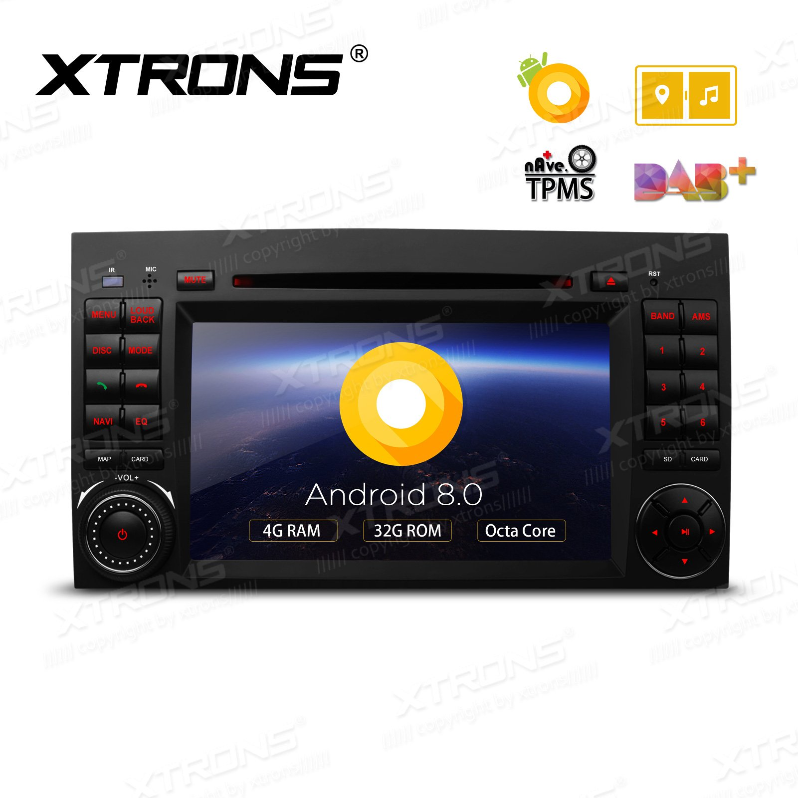 XTRONS 7'' Android 8.0 Octa Core 4G RAM 32G ROM HD Digital Multi-touch Screen DVR Car Stereo DVD Player Tire Pressure Monitoring Wifi OBD2 for Mercedes Benz A Class B-W245