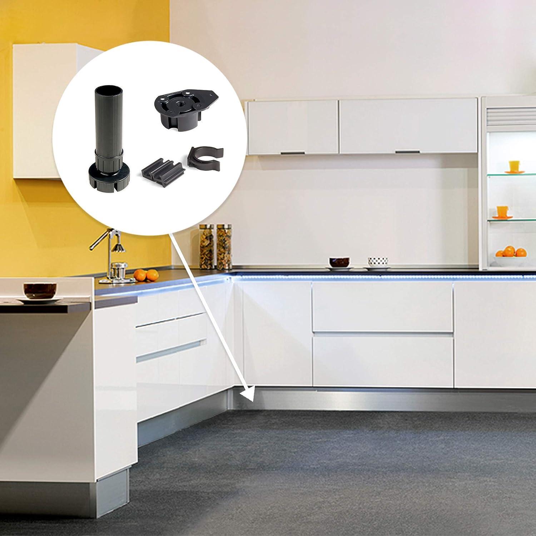 Emuca - Patas para mueble, Pies de plástico para muebles color negro, Lote de 4 pies regulables de alto 120mm