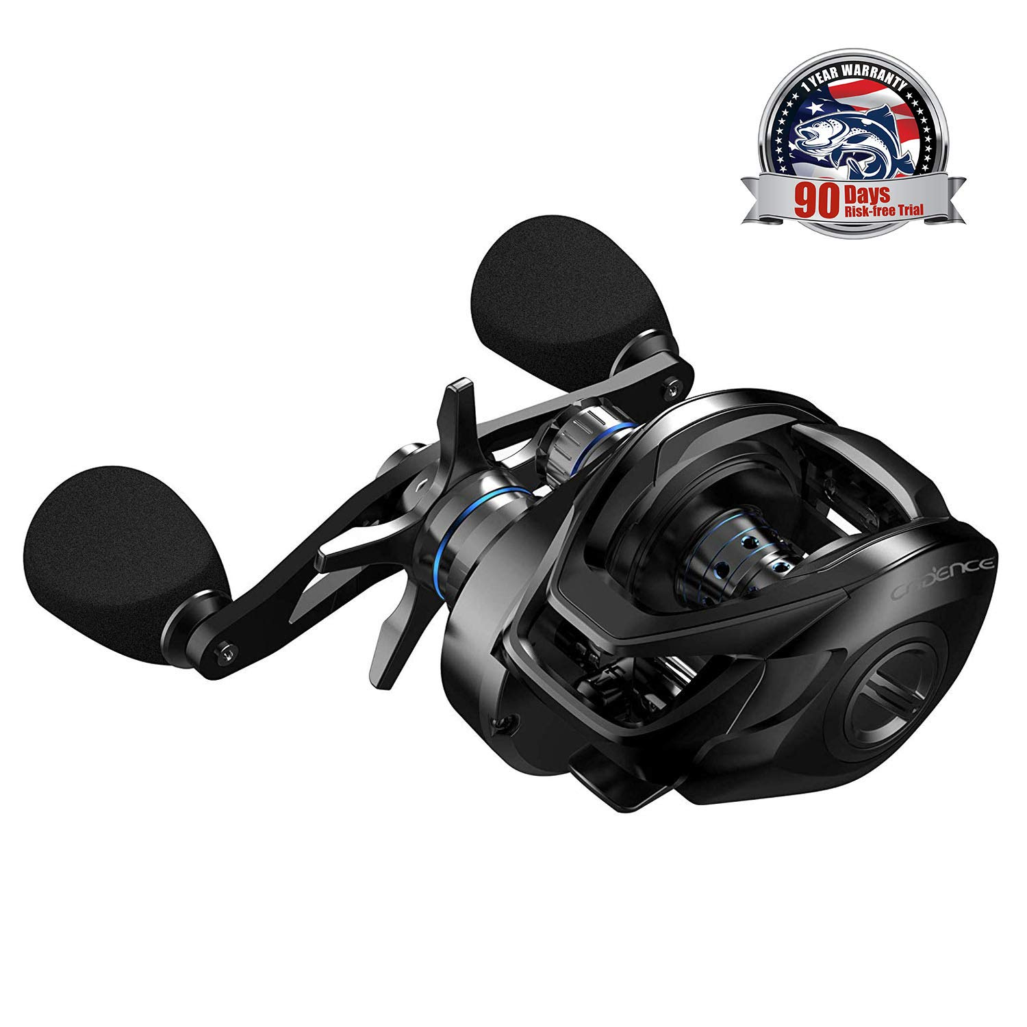 Cadence CB8 Baitcasting Reels Ultra Lightweight Fishing Reels with 9+1 Corrosion Resistant Bearings Baitcaster with 20 lb Carbon Fiber Drag 5.6:1 6.6:1 7.3:1 Gear Ratio Casting Reels