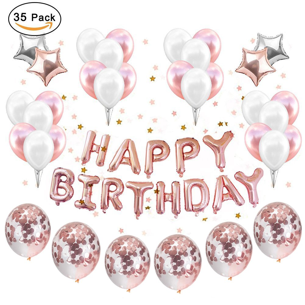Party Balloons Decoration Rose Gold, Set 12 inch Rose Gold Confetti Birthday Decor Party Supplies Rose Gold Party Kit Banner Rose Gold Confetti Balloons Set Star Mylar Cute for Girls Pink by IAMIGO