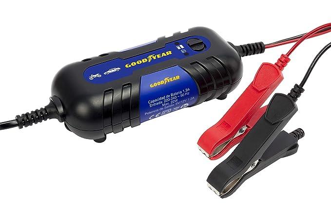 Goodyear GOD0017 God0017 - Cargador/Mantenedor de Batería Good Year Con Indicador Led 1.2A 6V/12V 3-40Ah
