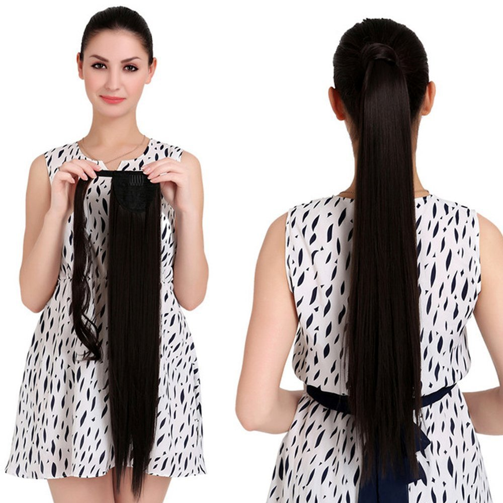 18'' Straight Ponytail Hair Extension Human Hair Wrap Ponytail Hairpiece 100g Natural Black 1b# by BEAUTY PLUS