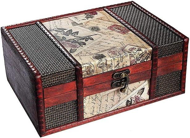 LNYJ Caja del Tesoro de 9 Pulgadas Sello Retro Maleta pequeña for la joyería, Tarjetas de Tesoros, Cajas de Regalo, Regalos y Decoraciones for el hogar: Amazon.es: Hogar