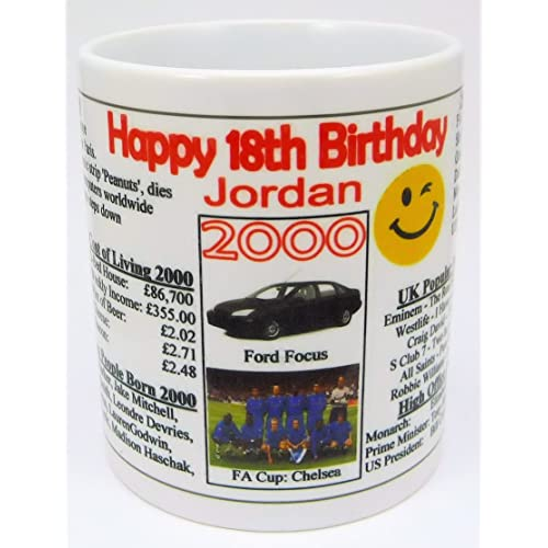 18TH BIRTHDAY MUG 2000 PERSONALISED WITH YOUR NAME THE YEAR YOU WERE BORN INFO
