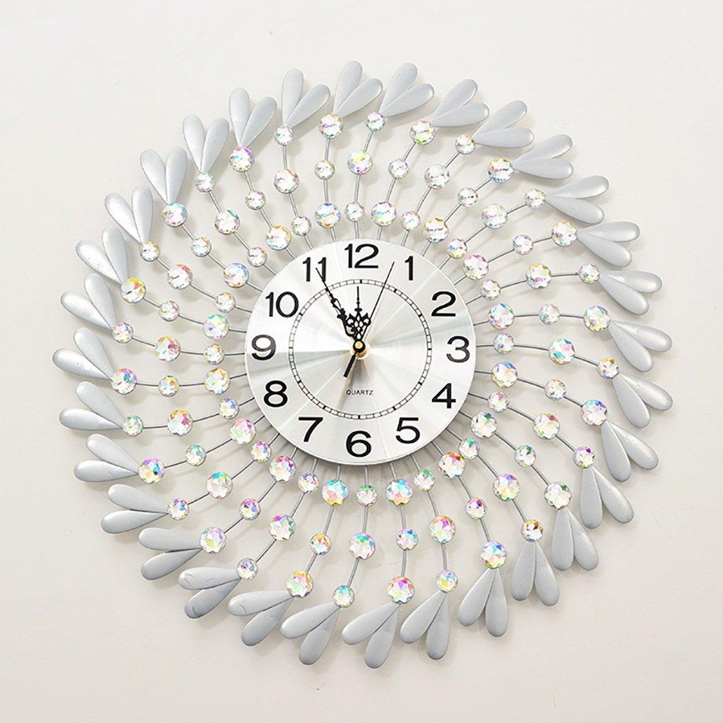 Jack Mall Stumm Uhr dekoriert Quarzuhr Wohnzimmer Moderne einfache Wanduhr (Farbe : Silber)