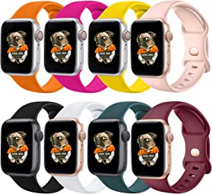 RUNZEN Silicone Bands Compatible with Apple Watch Bands 38mm 40mm 42mm 44mm, Sport Replacement Band Compatible with iWatch Apple Watch Series 6 5 4 3 2 1 SE Women Men