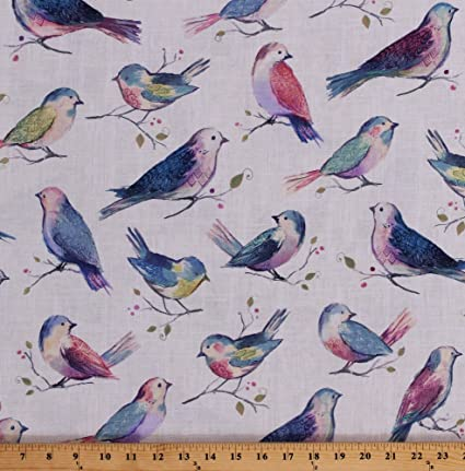 758419a54f3f Field's Fabrics Cotton Songbirds Multi-Colored Birds Branches Berries  Spring Nature All A Twitter Sweet
