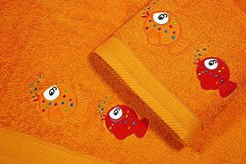 Juego de Toallas Infantiles Bordadas 2 piezas 550gr FISH S-100 D/PE (Naranja): Amazon.es: Hogar