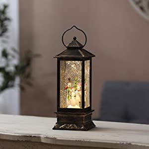 Luxen Home Holiday Snowman Family in Black and Brushed Gold LED Lantern