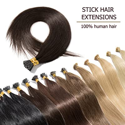 "100 Strands I Tip Hair Extensions Human Hair Dark Brown 16 Inch Soft Straight Remy Hair Pre Bonded Stick Shoelace Tips—16"", 2, 50g"