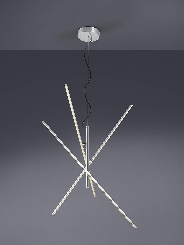 Trio Leuchten LED Deckenleuchte Tiriac 671610307, Metall, Nickel matt, Acryl weiß, 3 x 8.5 Watt, Switch Dimmer Pendel Durchm. 100cm Nickel Matt