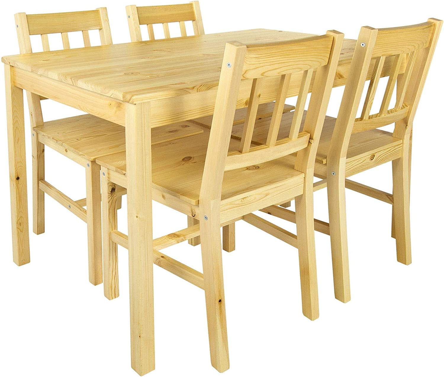 Merkell Leomark Beautiful Dining Set Natural Pine Table And 4 Chairs Pine Dining Table Natural Wood Dining Room Group For Kitchen Complete Wooden Ess Set Dining Room Set For 4