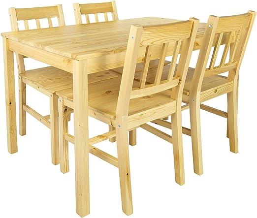 Merkell Conjunto Mesa de Pino y 4 sillas de Madera a la Sala de ...