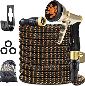 "XBUTY Garden Hose Expandable - 2021 Upgraded Water Hose with Improved Anti-Leak System, 4-Layer Latex Tube, Premium 3750D Fabric, 9-Way Metal Sprayer, 3/4"" Solid Brass Fittings, 25FT"