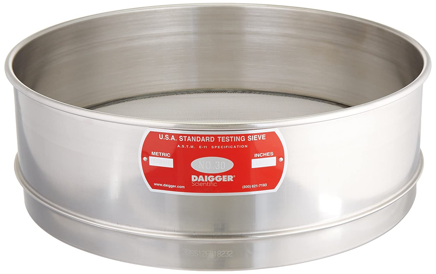 Image of Sieves ADVANTECH MANUFACTURING 30SS12F Stainless Steel Test Sieve, 12' Diameter, 30 Mesh Size
