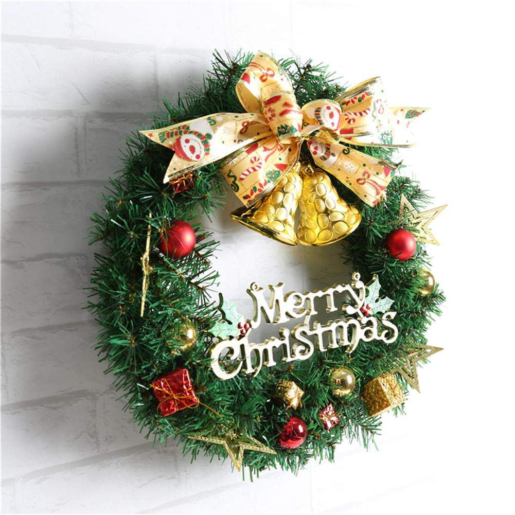Ribbon Bell Christmas Wreath Artificial Wreath Decorative Wreath Home Window Shopping Mall Hotel Decoration Christmas Decoration by Topaty (Image #4)