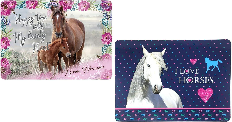 Theonoi - Juego de mesa de caballos: 2 bases de pintura, base para amasar, base para manualidades, mesa de plástico, 42 x 28 cm