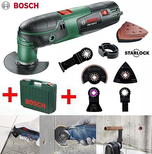 Bosch Herramienta multifunción PMF 190 E – Incluye hojas de sierra, lija, maletín y 3 piezas azulejos de especial – Kit de accesorios (Incluye Hoja de sierra de diamante): Amazon.es: Bricolaje y herramientas