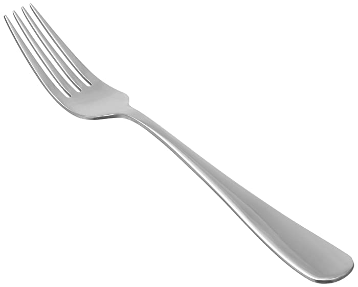 AmazonBasics Stainless Steel Dinner Forks with Round Edge, Pack of 12