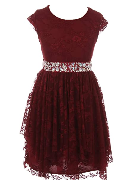 Amazoncom Just Kids Big Girls Burgundy Lace Ruffle Junior